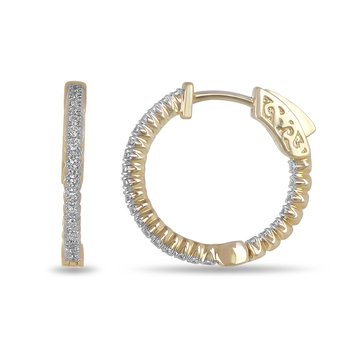 14K YG and diamond round Inside Out hoop earring in prong setting