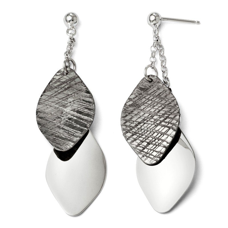 Leslie's Leslie's SS Ruthenium-plated Polished and Textured Post Earrings
