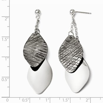 Leslie's SS Ruthenium-plated Polished and Textured Post Earrings