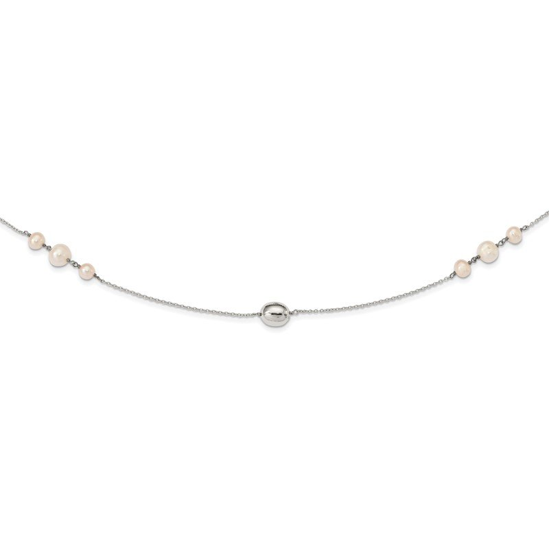Quality Gold Sterling Silver Polished Bead & Freshwater Cultured Pearl Necklace