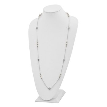 Sterling Silver Polished Bead & Freshwater Cultured Pearl Necklace