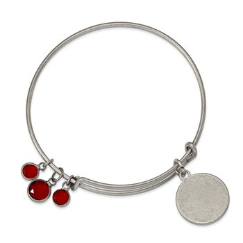 Silver-tone Brass Red Crystal Bangle Bracelet