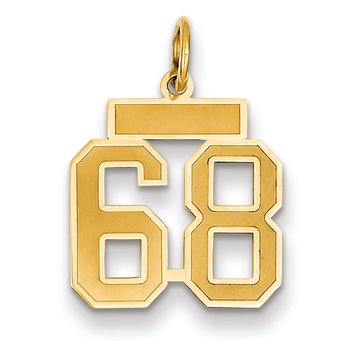 14k Small Satin Number 68 Charm