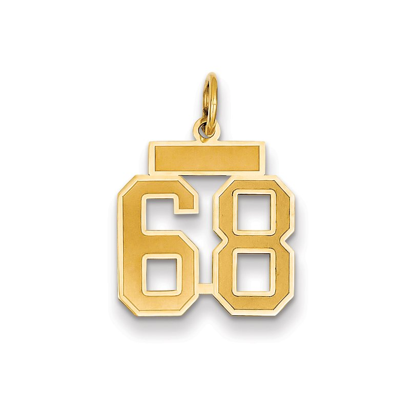 Quality Gold 14k Small Satin Number 68 Charm