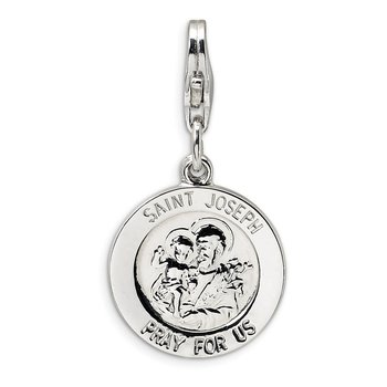 Sterling Silver Saint Joseph Medal w/Lobster Clasp Charm