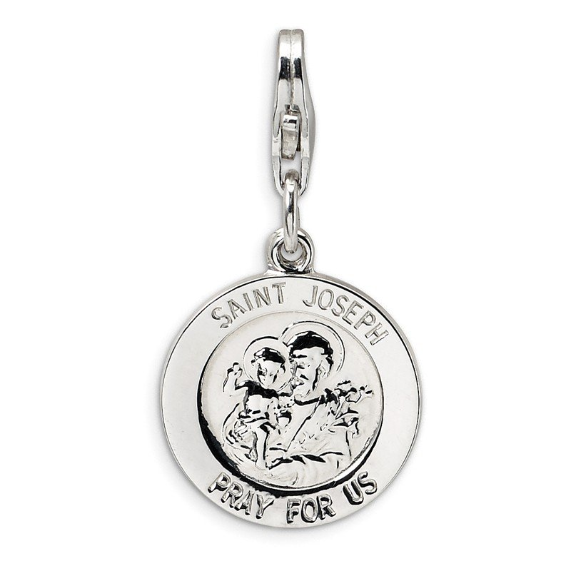 Quality Gold Sterling Silver Saint Joseph Medal w/Lobster Clasp Charm