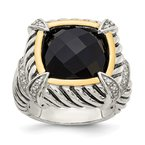 Shey Couture Sterling Silver w/14k Black Onyx & .02ct. Diamond Ring