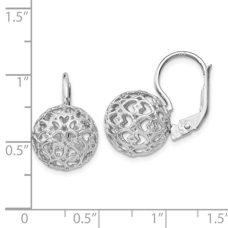 Leslie S Sterling Silver Heart Ball Leverback Earrings