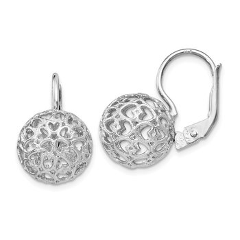 Leslie's Sterling Silver Heart Ball Leverback Earrings