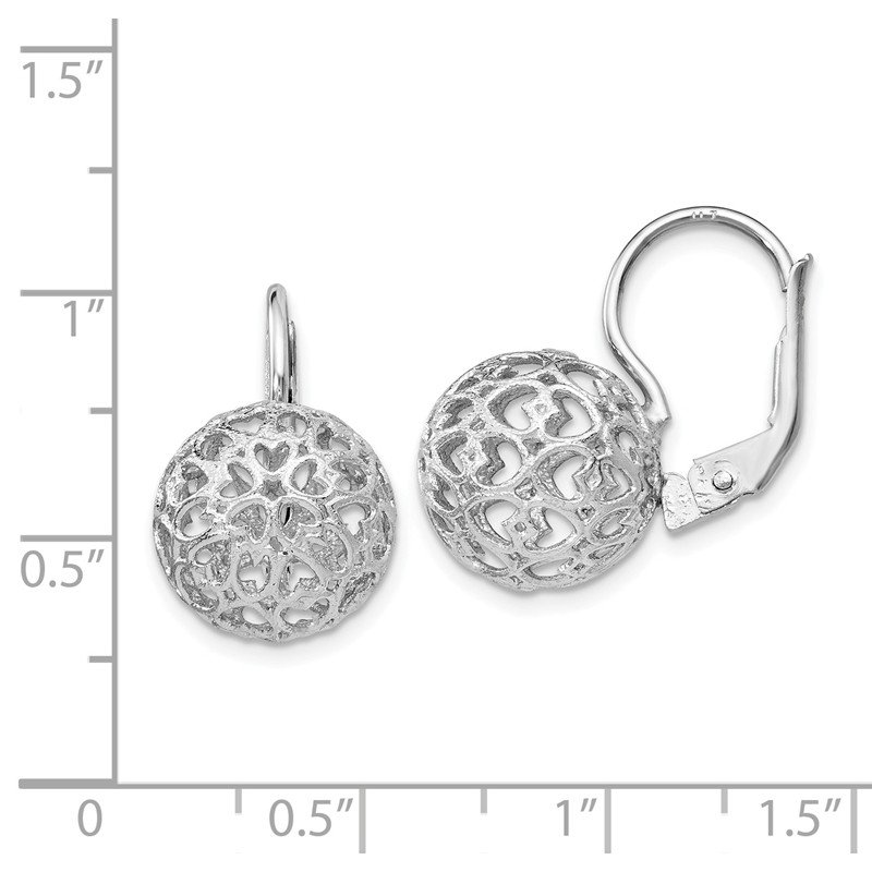 Leslie's Leslie's Sterling Silver Heart Ball Leverback Earrings