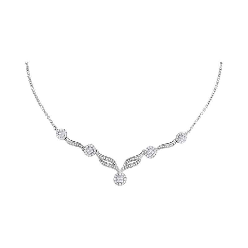 "Kingdom Treasures 14kt White Gold Womens Princess Diamond Soleil Cluster Luxury 18"" Necklace 1.00 Cttw"