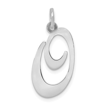 14k White Gold Large Fancy Script Letter O Initial Charm