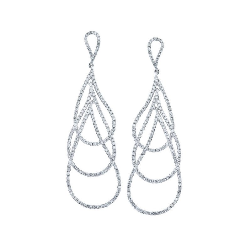 14k White Gold Triple Pear Shaped Dangle Diamond Earrings