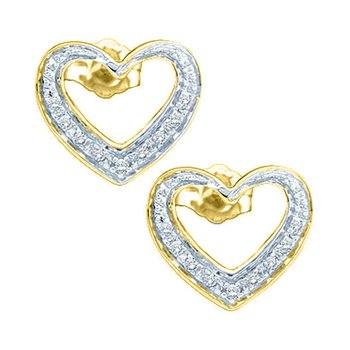 14kt Yellow Gold Womens Round Diamond Heart Stud Earrings 1/8 Cttw