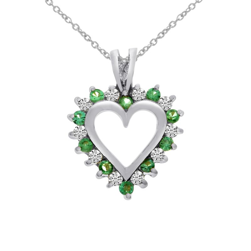 Color Merchants 14k White Gold Emerald and Diamond Heart Shaped Pendant