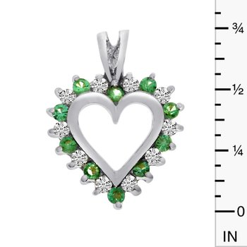 14k White Gold Emerald and Diamond Heart Shaped Pendant