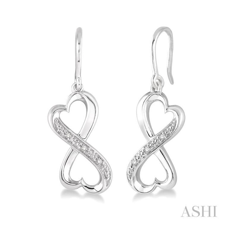 Gemstone Collection silver infinity heart shape diamond earrings