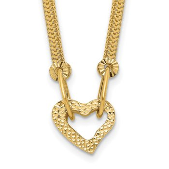 14K Gold Fancy Franco Diamond Cut Puff Heart 2in Ext Necklace