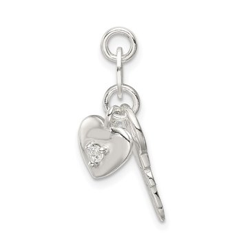 Sterling Silver Polished CZ Heart and Key Charm