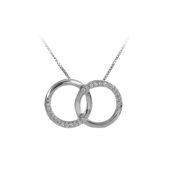 925 SS and Diamond Intertwined Circle Necklace in Prong Setting