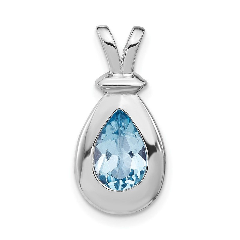 Quality Gold Sterling Silver Blue Topaz Pendant