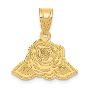 14k Laser Cut Rose with Leaves Charm