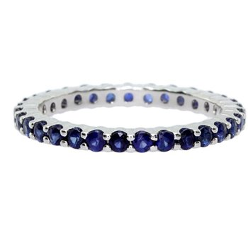 Blue Sapphire Stackable Ring in White Gold