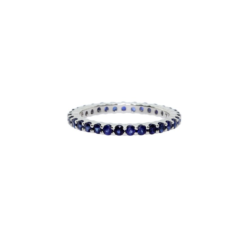 Just Perfect Blue Sapphire Stackable Ring in White Gold