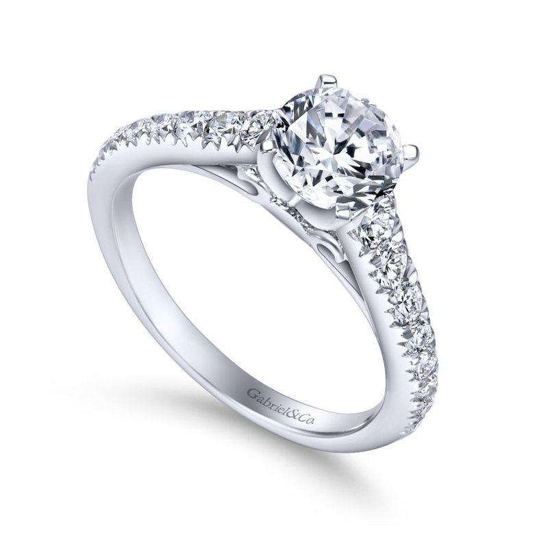 Gabriel Bridal Bestsellers 14K White Gold Round Diamond Engagement Ring