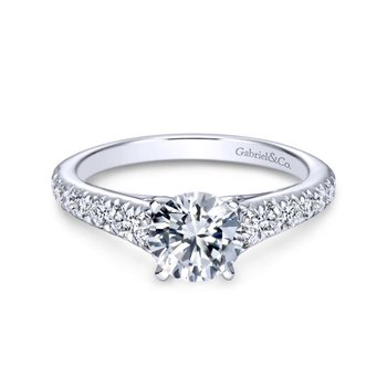 14k White Gold Graduating Pave Diamond Engagement Ring on Straight Band