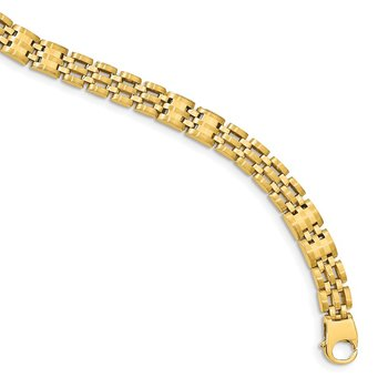 14k Satin and Polished Men's Link Bracelet
