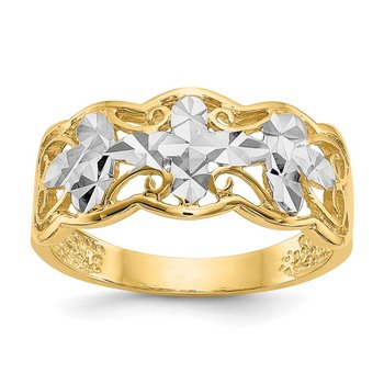 14k Rhodium Diamond-cut Wave Ring