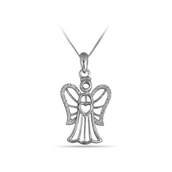 925 SS & Diamond Angel Pendant