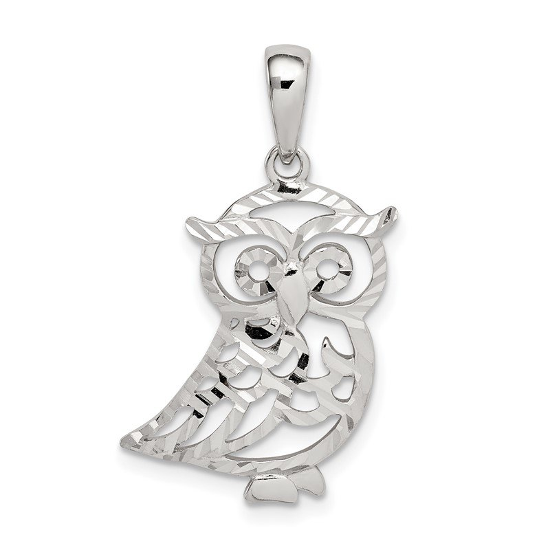 Quality Gold Sterling Silver Diamond-cut Owl Pendant