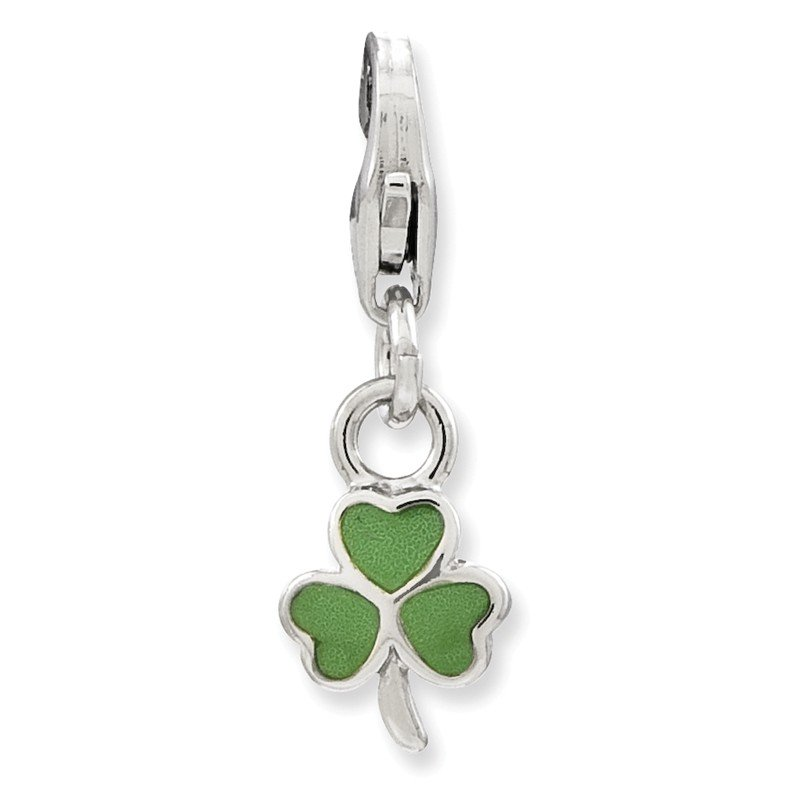 Quality Gold Sterling Silver Amore La Vita Rhodium-pl Green Enameled Clover Charm