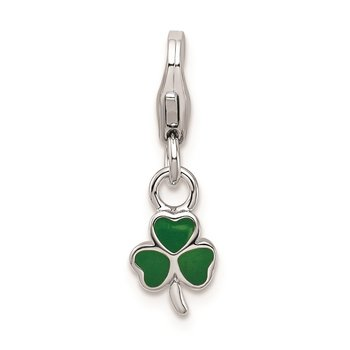 SS RH Enameled Clover w/Lobster Clasp Charm