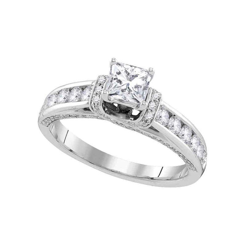 Gold-N-Diamonds, Inc. (Atlanta) 14kt White Gold Womens Princess Diamond Solitaire Bridal Wedding Engagement Ring 1-1/4 Cttw