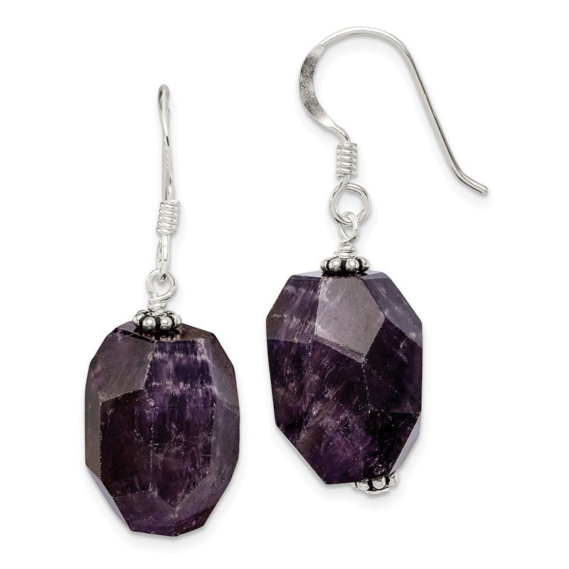 Quality Gold Sterling Silver Amethyst Stone Dangle Earrings