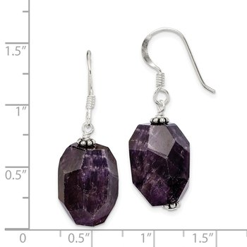 Sterling Silver Amethyst Stone Dangle Earrings