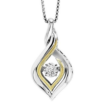 Silver & 10K Gold Diamond Pendant 1/10 ctw