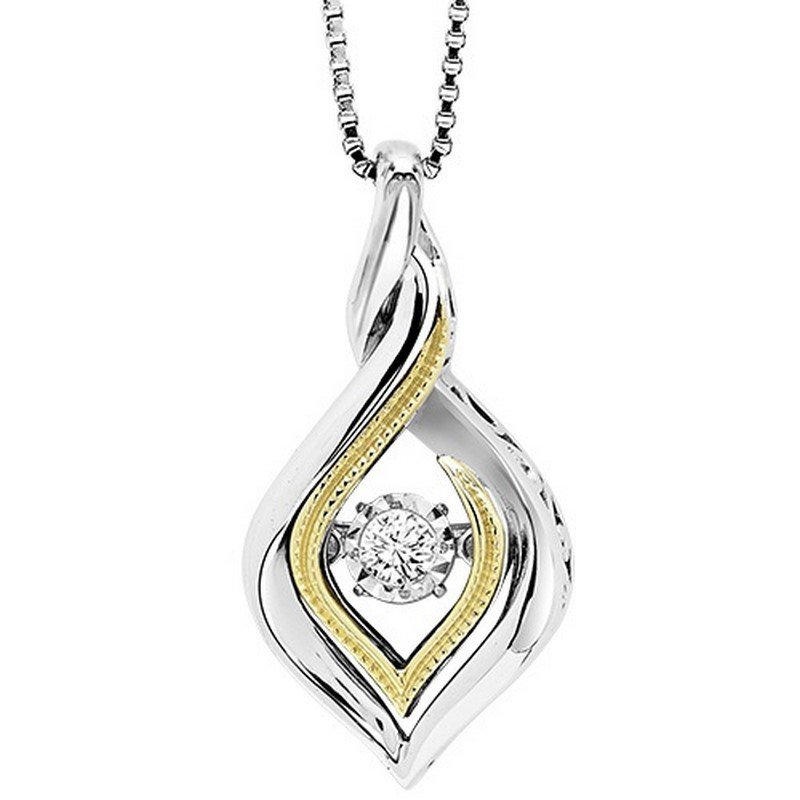 Rhythm of Love Silver & 10K Gold Diamond Pendant 1/10 ctw
