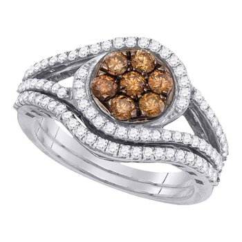 10kt White Gold Womens Round Brown Color Enhanced Diamond Bridal Wedding Engagement Ring Band Set 1.00 Cttw