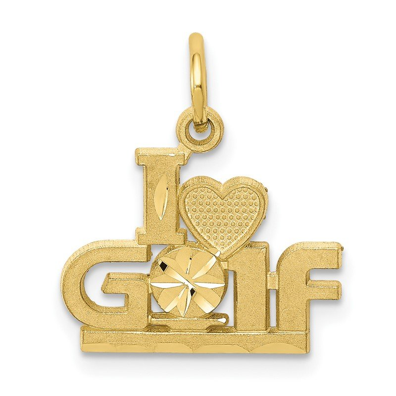 Quality Gold 10K I HEART GOLF Charm