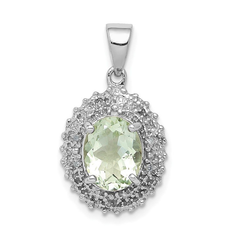 Quality Gold Sterling Silver Rhodium Green Quartz & Diamond Pendant