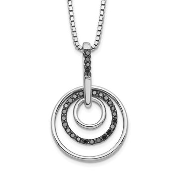 Sterling Silver Rhod Plated Black Diamond Pendant Necklace