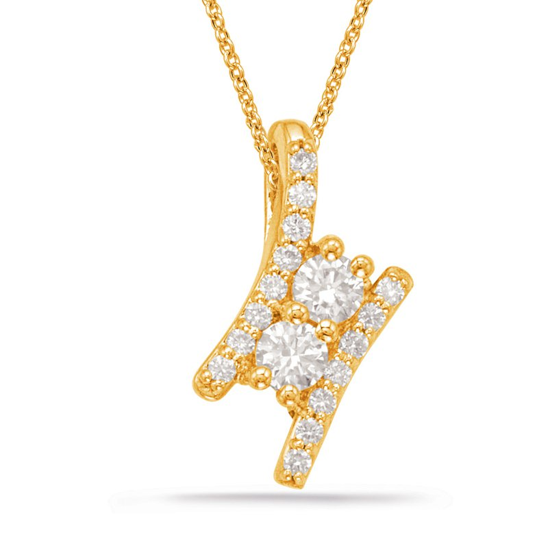 S. Kashi  & Sons Yellow Gold Two Stone Pendant