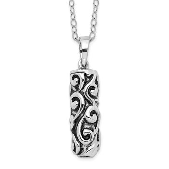 Sterling Silver Antiqued Cylinder Remembrance Ash Holder 18in Necklace