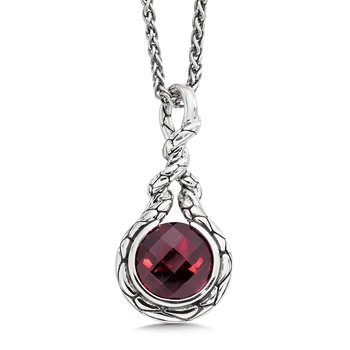 Sterling silver and red garnet pendant