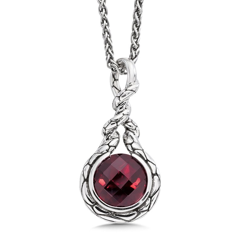 Colore Sg Sterling silver and red garnet pendant