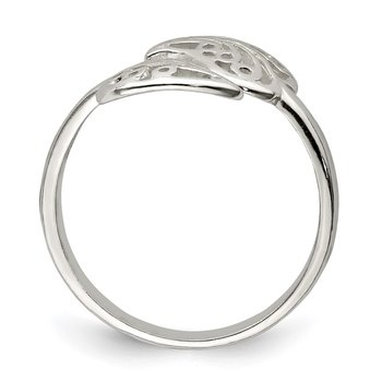 Sterling Silver Polished Filigree Ring